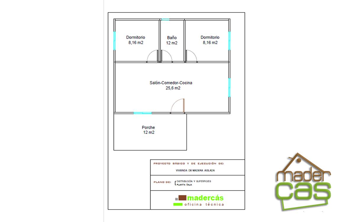 Plano casa de madera pequeña